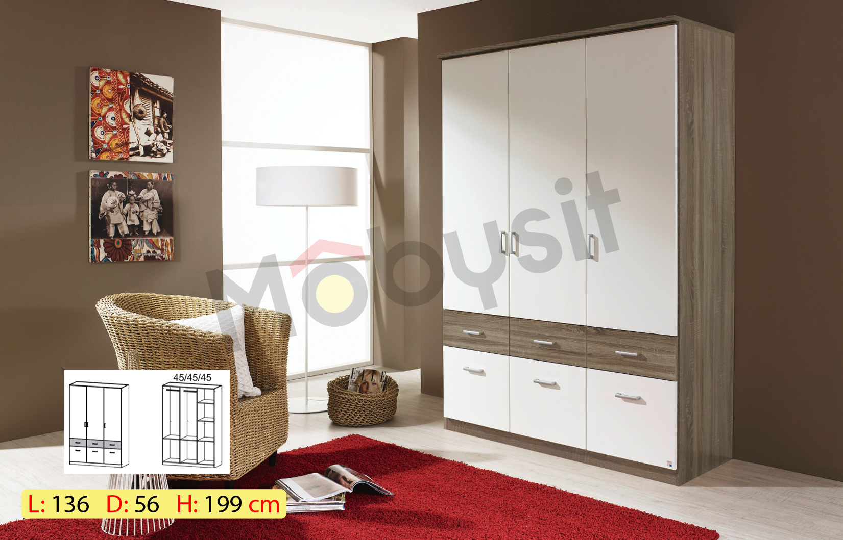 BIG BREMEN 3p eich oak white