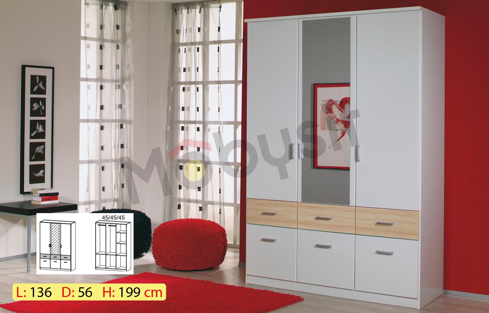 BIG BREMEN 3p white matt sonoma miroir