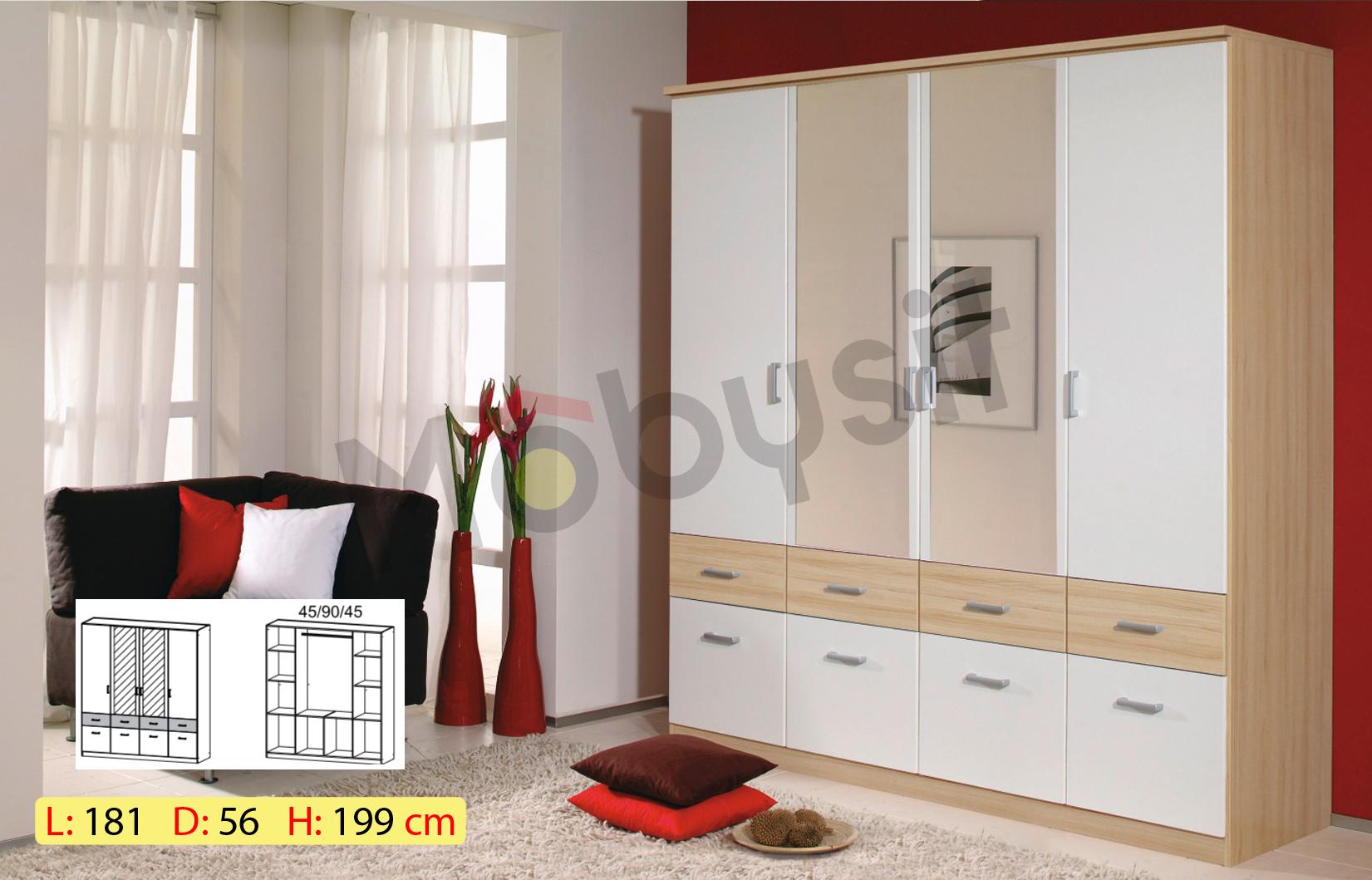 BIG BREMEN 4p sonoma white miroir